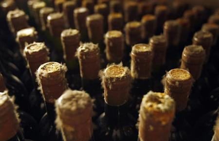 Mould-covered bottles of vintage wines are seen at the world's largest Cricova wine cellar, located outside Moldova's capital Chisinau April 13, 2009. REUTERS/Denis Sinyakov