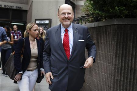 New York City Republican mayoral candidate Joe Lhota exits the polling center after voting in the Republican primary election in the Brooklyn borough of New York September 10, 2013. REUTERS/Brendan McDermid