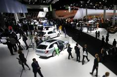 The stand of Volkswagen is pictured during a media preview day at the Frankfurt Motor Show (IAA) September 10, 2013. REUTERS/Pawel Kopczynski