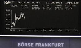 Les Bourses européennes, qui connaissent une journée de consolidation mercredi, évoluent toujours de manière irrégulière à la mi-séance. À Paris, le CAC 40 gagne 0,09% à 4.120,32 points vers 10h55 GMT. À Francfort, le Dax prend 0,59% et à Londres, le FTSE cède 0,02%. /Photo prise le 11 septembre 2013/REUTERS