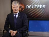 Hubert Joly, President and CEO of Best Buy, sits in the Reuters Television studio after an interview, in New York, November 14, 2012. REUTERS/Chip East