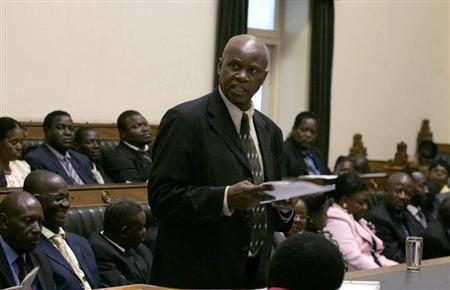 Zimbabwe's acting Minister of Finance Patrick Chinamasa addresses the parliament in Harare February 5, 2009. REUTERS/Philimon Bulawayo