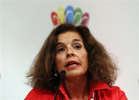 Madrid's Mayor Ana Botella speaks during a news conference in Buenos Aires, on Madrid's candidacy for the 2020 summer Olympics, September 4, 2013. REUTERS/Marcos Brindicci