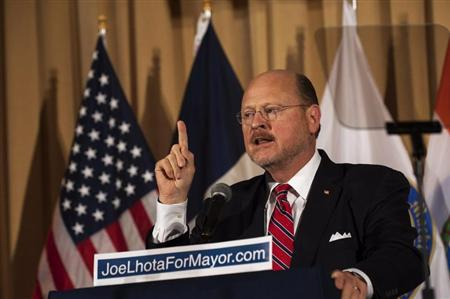 Republican Mayoral candidate Joe Lhota speaks after winning the Republican nomination for New York City mayor in New York, September 10, 2013. REUTERS/Keith Bedford
