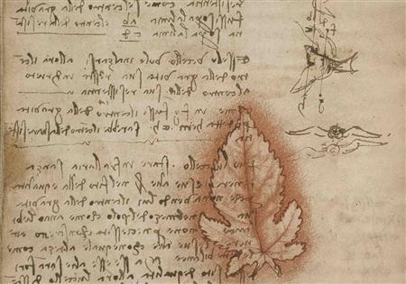 Leonardo da Vinci describes the use of flight testing apparatus to understand aerodynamics, in this undated illustration, released on September 12, 2013. REUTERS/Smithsonian Libraries, from the original at the Biblioteca Reale, Turin, Italy/Handout via Reuters