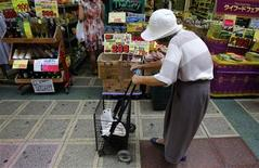 A woman pushing a cart looks at items at a local shopping street in Tokyo in this August 12, 2013 file photo. Japan's top two financial ministers openly disagreed on whether a corporate tax cut was needed to cushion any pain from an increase in the sales tax, as the government upgraded its view of the economy on September 13, 2013 for the seventh time this year. REUTERS/Yuya Shino/Files