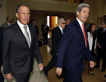 U.S. Secretary of State John Kerry (R) and Russian Foreign Minister Sergei Lavrov (L) walk with U.N. Special Representative Lakhdar Brahimi (C) towards a meeting to discuss the ongoing problems in Syria at the United Nations offices in Geneva, September 13, 2013. REUTERS/Larry Downing