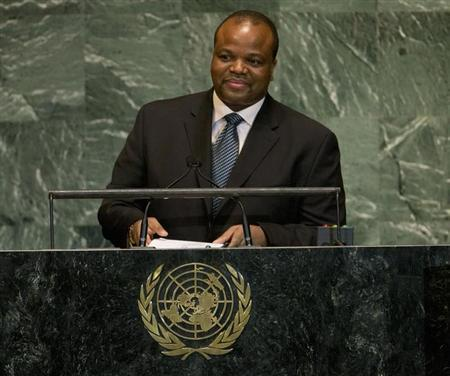 Mswati III, King of Swaziland, addresses the 67th session of the United Nations General Assembly at U.N. headquarters in New York, September 26, 2012. REUTERS/Ray Stubblebine