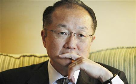 World Bank President Jim Yong Kim reacts during an interview with Reuters in Santiago July 5, 2013. REUTERS/Carlos Vera