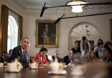 U.S. President Barack Obama speaks during a cabinet meeting in the West Wing of the White House in Washington, September 12, 2013. REUTERS/Jason Reed