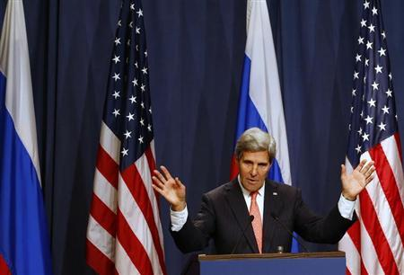U.S. Secretary of State John Kerry speaks, following meetings with Russian Foreign Minister Sergei Lavrov regarding Syria, at a news conference in Geneva September 14, 2013. REUTERS/Ruben Sprich