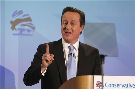 Britain's Prime Minister David Cameron speaks at the Conservative Party's annual Spring Forum, in central London March 16, 2013. REUTERS/Suzanne Plunkett