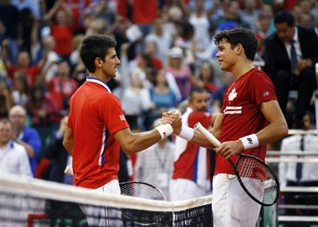 Serbia's Novak Djokovic (L) shakes hands with Canada's Milos Raonic after their Davis Cup semi-final tennis match in Belgrade September 15, 2013. REUTERS/Marko Djurica