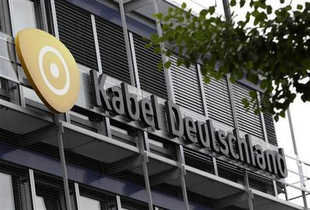 The logo of German cable television group Kabel Deutschland is pictured on the company's headquarters in Unterfoehring north of Munich June 24, 2013. REUTERS/Michaela Rehle
