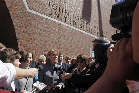 Massachusetts Attorney General Martha Coakley (C) speaks to reporters outside the U.S. District Court after attending a hearing before a federal appeals court panel on the Defense of Marriage Act in Boston, Massachusetts April 4, 2012. REUTERS/Jessica Rinaldi