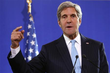 U.S. Secretary of State John Kerry speaks at a news conference after a meeting with his British and French counterparts regarding Syria, at the Quai d'Orsay in Paris September 16, 2013. REUTERS/Larry Downing