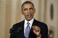 El presidente de Estados Unidos, Barack Obama, dando una conferencia de prensa en la Casa Blanca en Washington, sep 10 2013. El presidente de Estados Unidos, Barack Obama, dijo el lunes que no negociará con el Congreso un alza en el límite de endeudamiento de Estados Unidos y reprendió a los republicanos por amenazar con paralizar el Gobierno en un esfuerzo por revocar la firma de una ley de reforma de salud. REUTERS/Evan Vucci/POOL