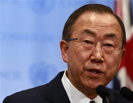 United Nations Secretary-General Ban Ki-moon speaks to the media after briefing the Security Council on the U.N. chemical weapons report on the use of chemical weapons by the Syrian Arabic Republic at the United Nations in New York September 16, 2013. REUTERS/Shannon Stapleton