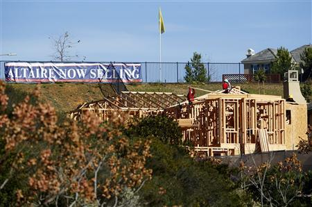 Workers build a new single-family home in San Marcos, California, January 30, 2013. REUTERS/Mike Blake