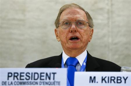 Michael Kirby, Chairperson of the Commission of Inquiry on Human Rights in North Korea, delivers his report to the U.N. Human Rights Council at the United Nations European headquarters in Geneva September 17, 2013. REUTERS/Denis Balibouse