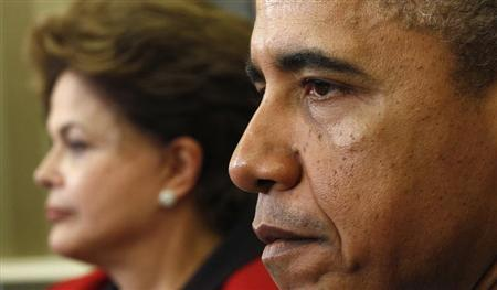 U.S. President Barack Obama meets with Brazil President Dilma Rousseff in the Oval Office of the White House in Washington April 9, 2012. REUTERS/Kevin Lamarque