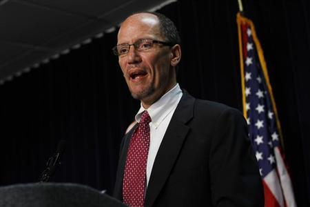 Thomas Perez speaks during a news conference in Phoenix, Arizona May 10, 2012 file photo. REUTERS/Joshua Lott