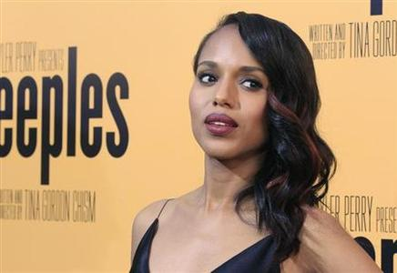 Actress Kerry Washington, one of the stars of the new film 'Peeples', produced by Tyler Perry, arrives at the film's premiere in Hollywood May 8, 2013. REUTERS-Fred Prouser