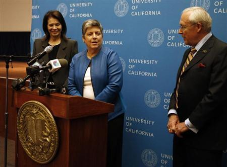 Secretary of Homeland Security Janet Napolitano speaks during a news conference after being voted in as the next president of the University of California on the campus of UCSF in San Francisco, California, July 18, 2013. REUTERS/Beck Diefenbach