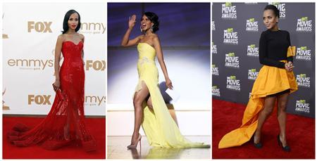 Combination photo shows file photos of actress Kerry Washington, L-R: at the 63rd Primetime Emmy Awards in Los Angeles on September 18, 2011, at the 21st annual Glamour Magazine Women of the Year award ceremony in New York on November 7, 2011 and at the 2013 MTV Movie Awards in Culver City, California on April 14, 2013. REUTERS-Files