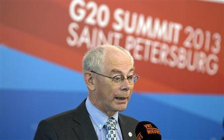 European Council President Herman Van Rompuy speaks with the media at the G20 summit in St. Petersburg September 6, 2013. REUTERS/Virginia Mayo/Pool