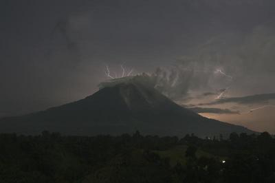 Mt Sinabung erupts