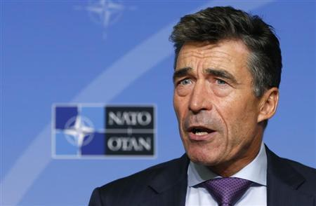 NATO Secretary General Anders Fogh Rasmussen talks to the media during a monthly news conference in Brussels September 2, 2013. REUTERS/Francois Lenoir