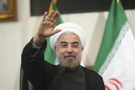 Hassan Rohani gestures to the media during a news conference in Tehran June 17, 2013. REUTERS/Fars News/Majid Hagdost