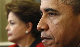 O presidente dos EUA, Barack Obama, reúne-se com a presidente do Brasil, Dilma Rousseff, na Casa Branca em Washington, EUA. Todas as vezes que Brasil e Estados Unidos chegam ao altar, o teto da igreja parece desabar. 9/04/2012 REUTERS/Kevin Lamarque