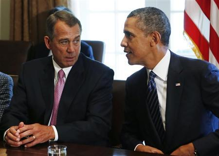 Speaker of the House John Boehner (R-OH) (L) talks to U.S. President Barack Obama during a meeting with bipartisan Congressional leaders in the Cabinet Room at the White House in Washington to discuss a military response to Syria, September 3, 2013. REUTERS/Larry Downing