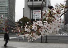 Ветка сакуры на фоне здания Токийской фондовой биржи в Токио 11 апреля 2012 года. Японские акции снизились в пятницу с двухмесячного максимума из-за фиксации прибыли накануне продленных выходных. REUTERS/Toru Hanai