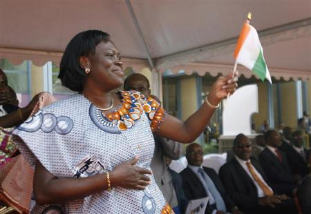 Simone Gbagbo, wife of Ivory Coast's President Laurent Gbagbo, gestures during the opening ceremony of celebrations marking the 50th anniversary of the country's indepedence, at the presidential palace in Abidjan January 31, 2010. REUTERS/Luc Gnago