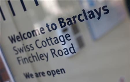 The entrance to the Swiss Cottage branch of Barclays is seen in London September 20, 2013. REUTERS/Suzanne Plunkett