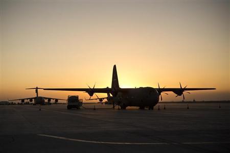 U.S. Army planes are seen on the tarmac at Kandahar Air Base in Kandahar Province, Afghanistan, February 5, 2013. REUTERS/Andrew Burton