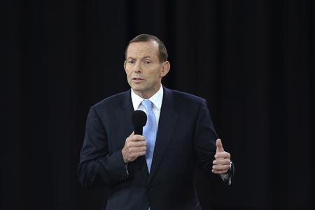 Opposition leader Tony Abbott talks during the People's Forum with Australian Prime Minister Kevin Rudd in Sydney August 28, 2013. REUTERS/Lukas Coch/Pool
