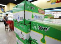 Boxes of Mengniu's milk products are seen at a supermarket in Beijing June 19, 2013. REUTERS/Kim Kyung-Hoon