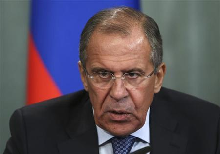 Russian Foreign Minister Sergei Lavrov speaks during a news conference following his meeting with his Egyptian counterpart Nabil Fahmy in Moscow September 16, 2013. REUTERS/Sergei Karpukhin