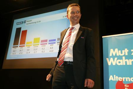 Alternative fuer Deutschland party (AfD) top candidate Bernd Lucke smiles after first exit polls in the German general election (Bundestagswahl) at the AfD party headquarters in Berlin September 22, 2013. REUTERS/Ina Fassbender