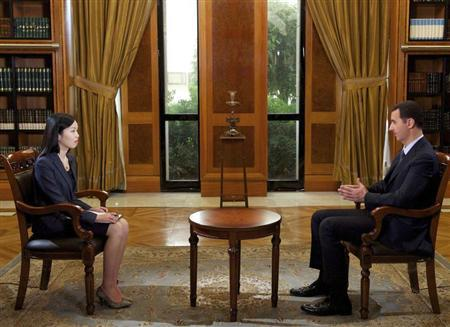 Syria's President Bashar al-Assad speaks during an interview with China's state television CCTV, in Damascus, in this handout photograph distributed by Syria's national news agency SANA on September 23, 2013. REUTERS/SANA/Handout via Reuters