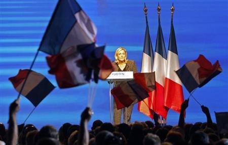 Marine Le Pen, France's National Front political party leader, delivers a speech during the National Front political party summer university in Marseille, September 15, 2013. REUTERS/Jean-Paul Pelissier