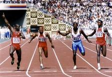 Ben Johnson of Canada (L) leads Calvin Smith of the U.S. (2nd L), Linford Christie of Britain (2nd R) and Carl Lewis of the U.S. (R) across the finish line to win the men's 100 meters sprint final at the Olympics in Seoul, South Korea, September 24, 1988. REUTERS/Pool