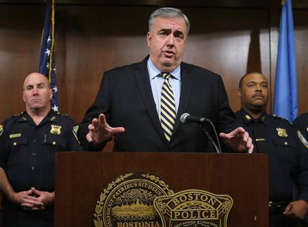 Outgoing Boston Police Commissioner Ed Davis speaks during a news conference to announce his retirement at Police Headquarters in Boston, Massachusetts September 23, 2013. REUTERS/Brian Snyder