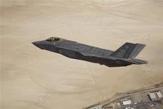 The second production model F-35A Lightning II aircraft flies above the compass rose of Rogers Dry Lakebed at Edwards Air Force Base, California in this May 13, 2011 file image distributed by the U.S. Air Force. REUTERS/Paul Weatherman/Lockheed Martin/US Air Force/Handout via Reuters/Files