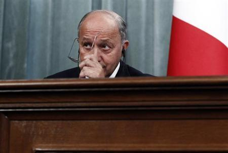France's Foreign Minister Laurent Fabius attends a news conference after a meeting with his Russian counterpart Sergei Lavrov in Moscow, September 17, 2013. REUTERS/Maxim Shemetov