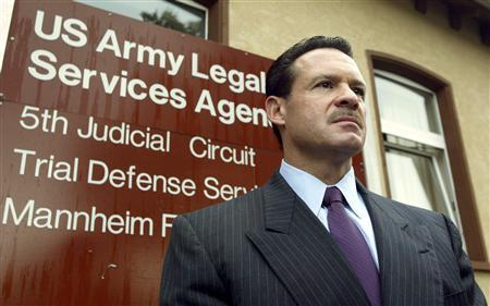 Paul W. Bergrin, attorney of Specialist Davis gives statement during the second day of an Abu Graibh pre-trial hearing at the U.S. Army Taylor barracks in Mannheim in this August 24, 2004 file photo. REUTERS/Alex Grimm/Files